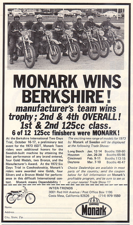 Image - Press advert of Monark Team success at 1972 USA ISDT test event (courtesy vintagemonark.com)