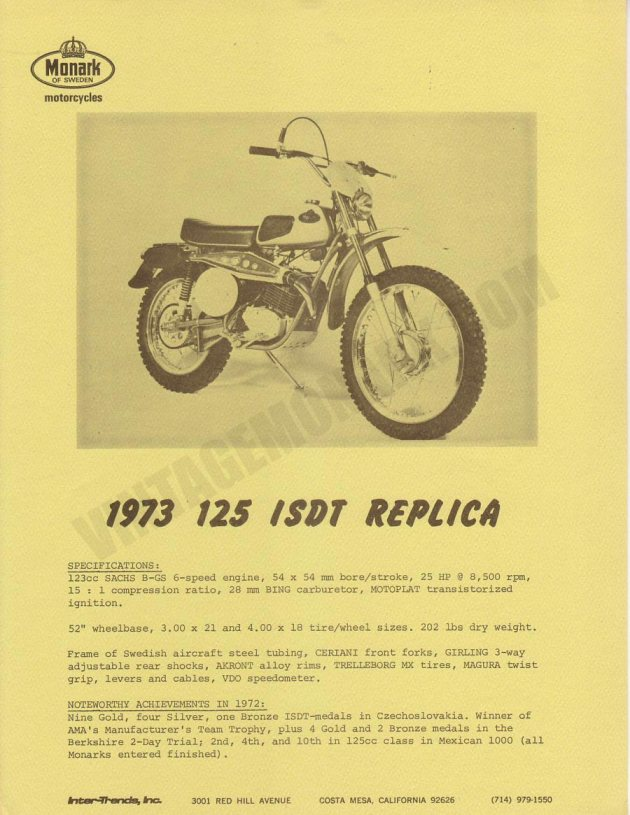 Image - Dealer sales material 1973 ISDT Team Replica Monark 125GS (Courtesy vintagemonark.com)