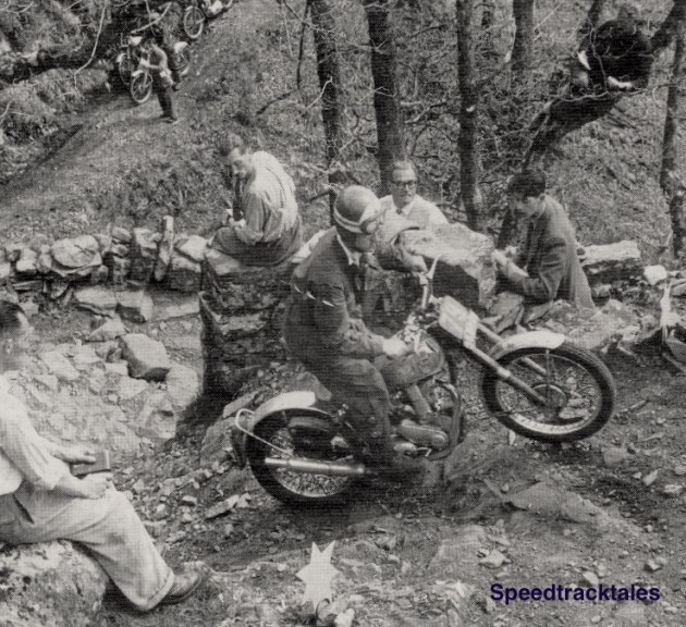Photo - Eddie Dow in section on a BSA in the Scottish Six Days Trial 1953
