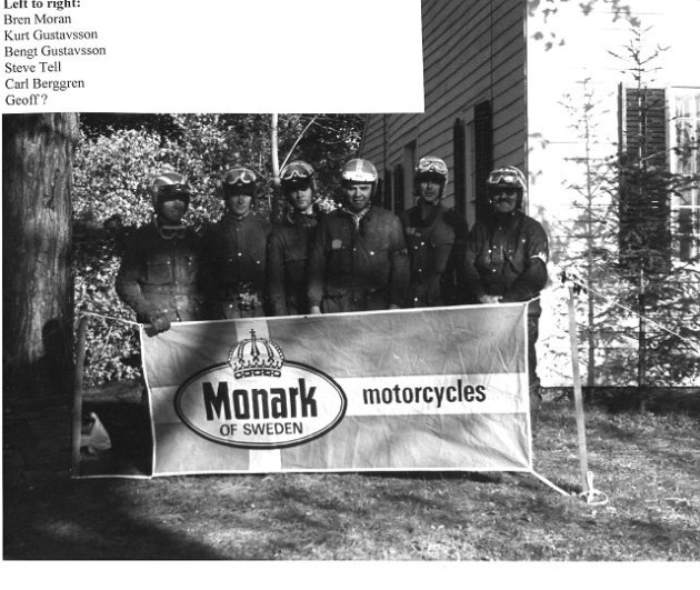 Photo - 1972 Berkshire International Two Day Trial Monark Team left to right - Bren Moran, Kurt Gustavsson, Bengt Gustavsson, Steve Tell, Carl Breggren. (courtesy vintagemonark.com)