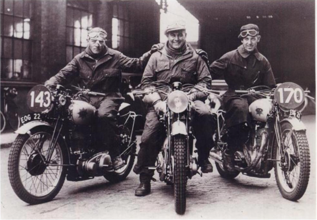 Photo - Royal Tank Corp team mounted on BSA Empire Stars l-r Fred Rist, R Gillam, JT Dolby at ISDT 1938