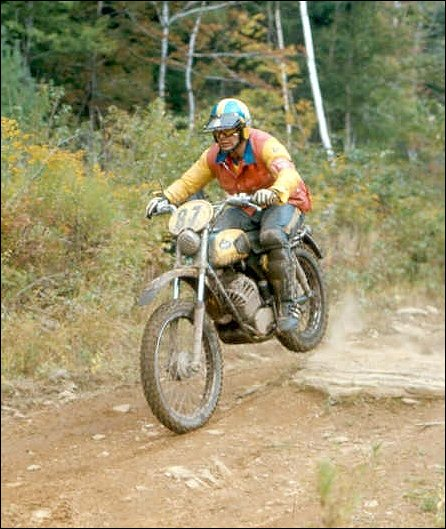 Photo - Steve Tell in action on the Monark in the ISDT 1973 (Courtesy vintagemonark.com)
