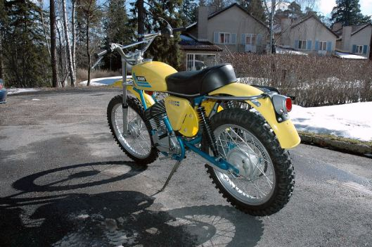 photo - LH rear view of Tomas Melander's unused 1974 Monark GS125 ISDT (Courtesy vintagemonark.com)