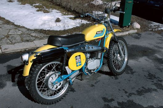 photo - RH rear view of Tomas Melander's unused 1974 Monark GS125 ISDT (Courtesy vintagemonark.com)