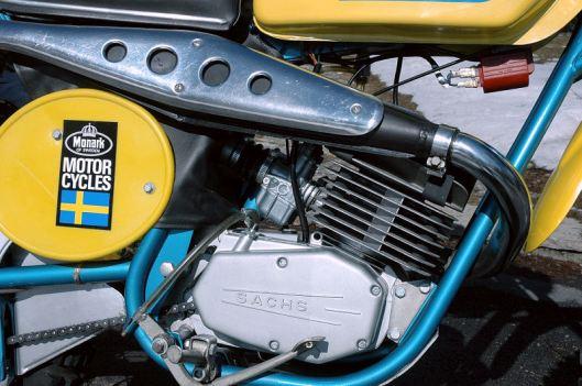 photo - Engine detail of Tomas Melander's unused 1974 Monark GS125 ISDT (Courtesy vintagemonark.com)
