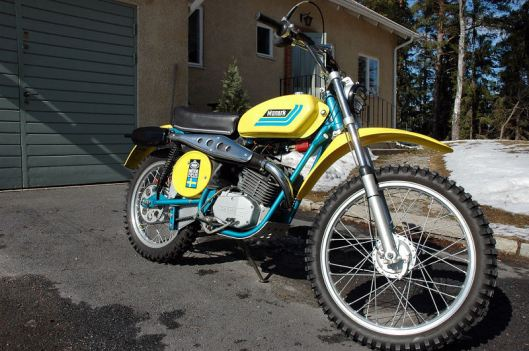 photo - RH front view of Tomas Melander's unused 1974 Monark GS125 ISDT (Courtesy vintagemonark.com)