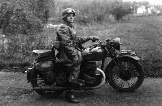 Photo - German DR on captured BSA M20 WW2