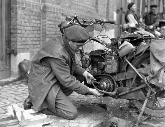 Photo - DR working on bike WW2