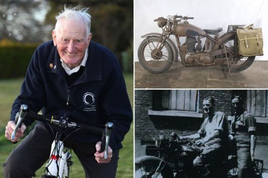 Photo - George Brown once Army dispatch rider and still keen on two wheels but these days it a cycle.