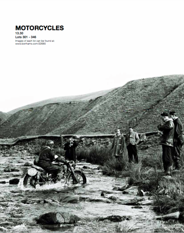Image - catalog page featuring action shot of Hugh Viney and his AJS 500 ISDT 1953