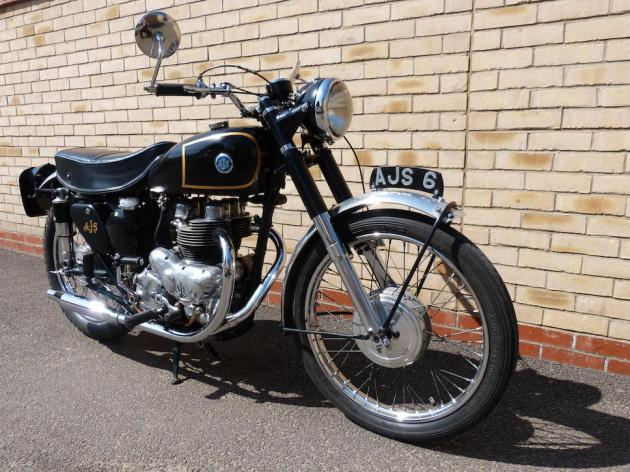 Photo - Works AJS 498 of Hugh Viney RH Side view ISDT 1953 (Courtesy Bonhams)