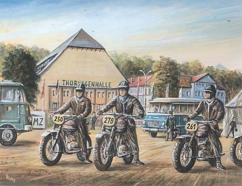 image - painting of McQueen on start in Erfurt  ISDT1964